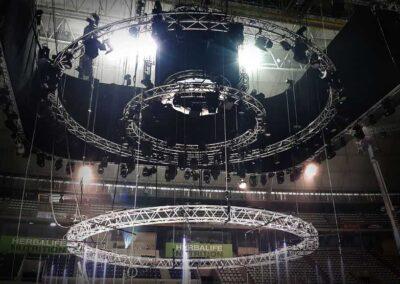 Evento Corporativo de Rigging truss motores estructuras, Soluciones Técnicas de rigging y efectos verticales